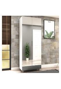 Armário Multiuso 100%Mdf 02 Portas Branco Com Espelho Flora Lilies Móveis