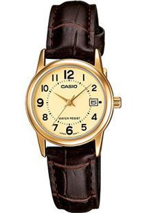 Relógio Casio Collection Analógico Ltp-V002Gl Feminino - Feminino-Dourado+Marrom