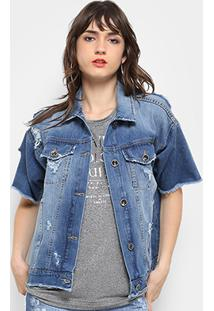 df56a789d1 Ir para a loja  Jaqueta Jeans Colcci Manga Curta Bordado Feminina -  Feminino-Jeans