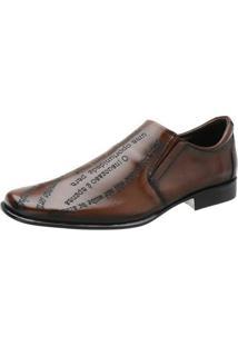 Sapato Social Couro Stefanello Elástico Masculino - Masculino-Marrom
