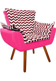 Poltrona Decorativa Opala Suede Composê Estampado Zig Zag Vermelho D79 E Suede Rosa Barbie - D'Rossi