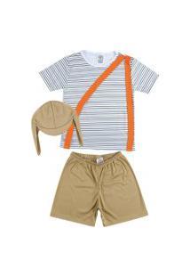 Fantasia Shorts E Camiseta Listrada Douvelin Marrom