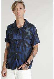 Camisa Masculina Estampada De Coqueiros Manga Curta Azul