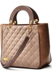 Bolsa Hendy Bag De Mão Couro Rosê - Feminino-Rosa