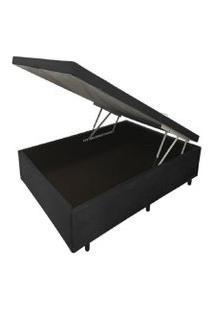 Cama Box Baú Inteiriço Casal Premium 1,38 X 1,88 X 0,40 Tecido Sintético Preto