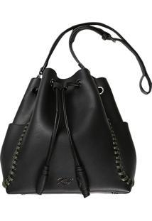 Bucket Bag Com Bolsos Preto