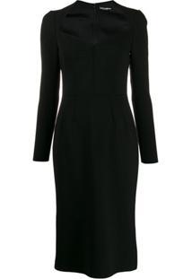 Dolce & Gabbana Vestido Lápis Mangas Longas - Preto