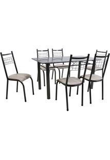 Conjunto De Mesa Granada Com 6 Cadeiras Lisboa Preto Prata E Nature Bege