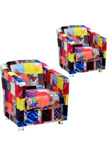Kit 02 Poltronas Decorativas Lymdecor Laura Patchwork
