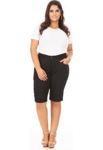 Bermuda Jeans Cintura Alta Básica Plus Size Confidencial Extra Feminina - Feminino-Preto