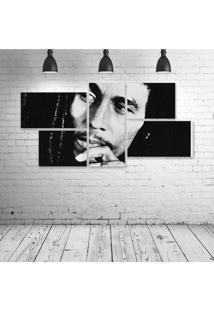 Quadro Decorativo - Bob-Marley-Face - Composto De 5 Quadros