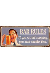 Placa De Metal Decorativa Vintage Bar Rules