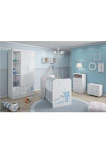 Quarto De Bebê Completo Com Guarda Roupa 2 Portas, Berço, Cômoda E Baú Kids Móveis Serpil Branco/Azul