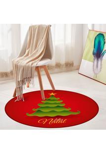 Tapete De Natal Redondo Feliz Natal Com Pinheiro 84Cm - Multicolorido - Dafiti