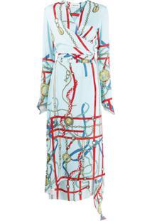 Lanvin Vestido Envelope Com Estampa De Corrente - Azul