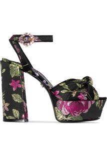 Dolce & Gabbana Sandália Floral Com Plataforma - Preto