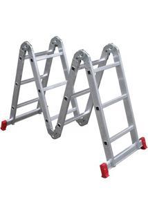 Escada Articulada 4X3 Em Alumínio Com 12 Degraus Prata