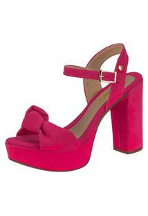 Sandália Domidona Meia Pata Salto Alto Laço 136.01.003 - Pink
