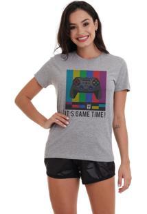 Camiseta Basica Joss Game Time Cinza Mescla Dtg