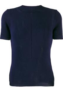 Emporio Armani Blusa Com Recortes Vazados - Azul