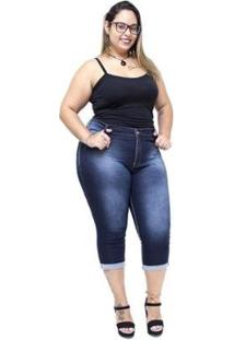 Calça Jeans Credencial Plus Size Cropped Dalcilene Feminina - Feminino-Azul