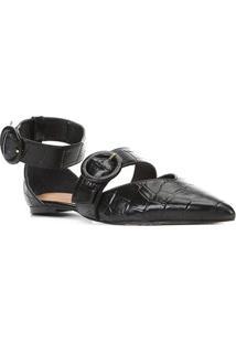 Sapatilha Couro Shoestock Croco Tira Removível Feminina - Feminino-Preto