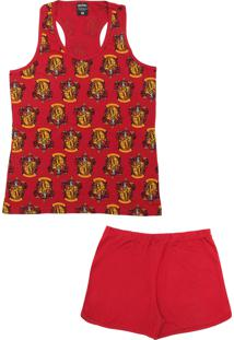 Pijama Lupo Urban Curto Feminino Harry Potter Vermelho