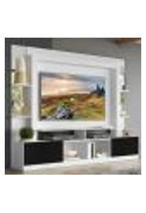 """Rack C/ Painel E Suporte Tv 65"""" Prateleiras C/ Espelho Oslo Multimóveis Branco/Preto"""