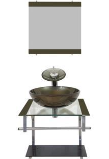Gabinete Vidro Para Banheiro Polônia Ouro Envelhecido Ekasa