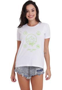 Camiseta Básica Jay Jay Wild Camping Neon Branca Dtg