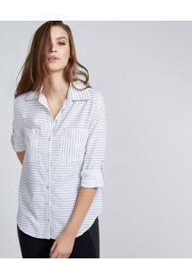 Camisa Listrada Com Bolsos - Off White & Pretapop Up