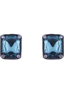 Brinco Armazem Rr Bijoux Cristal Quadrado Feminino - Feminino