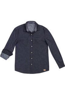 Camisa Jeans Masculina Regular De Manga Longa Com Lavação Escura Hering