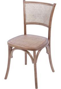 Cadeira Zimba Madeira Escura Assento Em Rattan - 55946 - Sun House