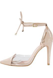 Scarpin Salto Alto Week Shoes Vinil New Pele Tornozeleira De Amarrar - Tricae