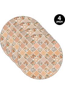Sousplat Mdecore Abstrato 32X32Cm Colorido 4Pçs