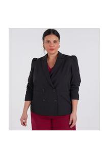Blazer Alfaiataria Com Botões E Mangas Bufantes Curve & Plus Size | Ashua Curve E Plus Size | Preto | 48