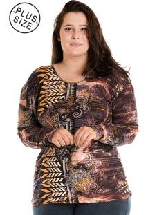 Blusa Konciny Estampada Plus Size Marrom
