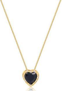 Colar Pequeno Com Pedra Natural Formato De Coração Rodeado De Zircônias Folheado Francisca Joias - Feminino-Dourado