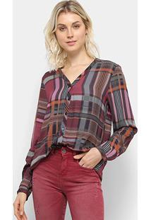 Camisa Manga Longa Colcci Estampada Feminina - Feminino-Roxo+Laranja
