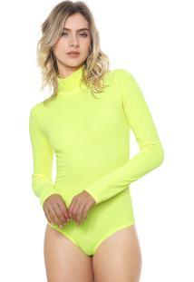 Body Amber Canelado Neon Amarelo
