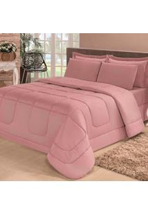 Kit Edredom Confort Casa Dona Dupla Face Casal Queen 6 Pçs Com Lençol Rosé