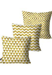 Kit Com 3 Capas Para Almofadas Pump Up Decorativas Dourado Geométricos 45X45Cm