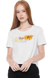 Camiseta Cropped Calvin Klein Jeans New York Branca