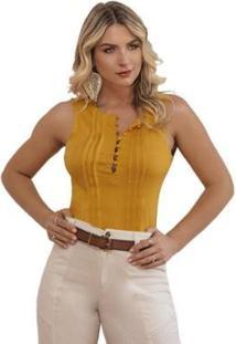 Blusa Sinopzzi Decote Pregreada Botão Cavada Feminina - Feminino-Amarelo
