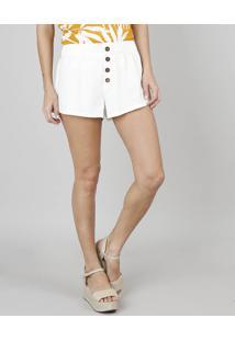 3a7461191 R$ 79,99. CEA Short Off White Moderno Solto Cintura Media Feminino Branco  Linho ...
