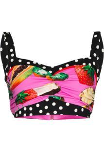 Dolce & Gabbana Blusa Cropped Com Estampa De Frutas - Rosa