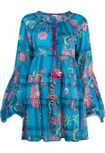 Anjuna Vestido Com Estampa Floral - Azul