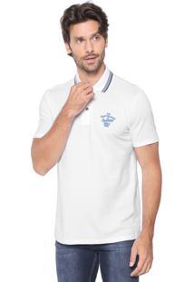 Camisa Polo Malwee Reta Bordada Branca
