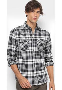 Camisa Xadrez Broken Rules Flanelada Masculina - Masculino-Preto